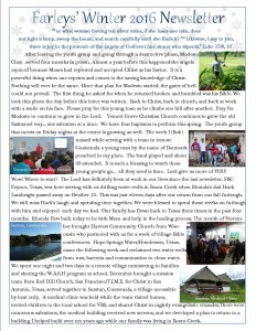 Winter Newsletter 2016
